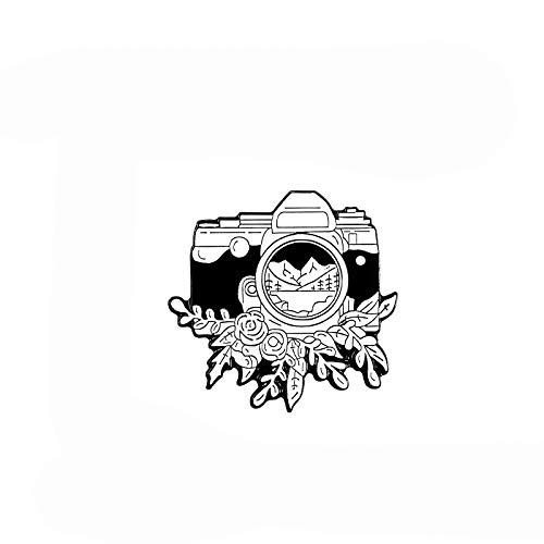 Vintage cámara Pin Personalizado Negro Blanco Insignia Broche para Bolsa de la Solapa Pin al Aire Libre fotografía joyería Regalo para Amigos