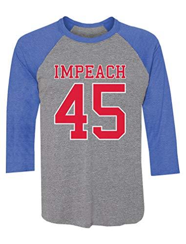 Tstars Impeach 45 Anti Trump USA 2020 Elections 3/4 Sleeve Baseball Jersey Shirt XX-Large Blue/Gray