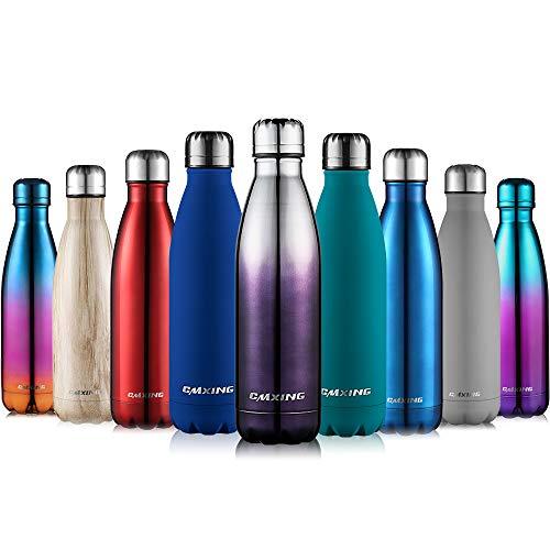 cmxing Doppelwandige Thermosflasche 500 mL mit Tasche BPA-Frei Edelstahl Trinkflasche Vakuum Isolierflasche Sportflasche für Outdoor-Sport Camping Mountainbike (Silber+Schwarz, 500 mL)