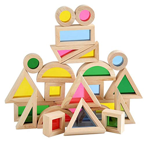 24pcs/Set Kaleidoscopic Building Blocks with Colored Acrylic Board Wooden Educational Toys for Kids