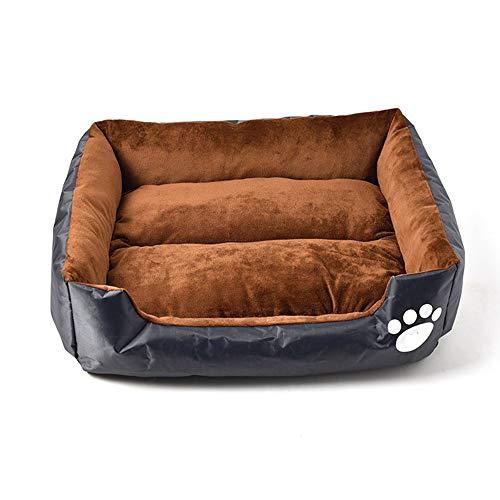 ZHEN Peach Skin Baumwolle Hundebett, Orthopädische, Selbstschutz und komfortable Schlaf-Qualität, maschinenwaschbar, wasserdichter Boden, abnehmbare,Schwarz,S