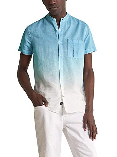 Salsa Jeans Camisa Manga Corta Fit Slim teñida para Hombre Hombre Color: 8075 Azul Talla: M