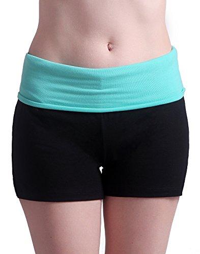 HDE Women's Yoga Workout Shorts Exercise Mini Hot Shorts (Black and Teal, Medium)