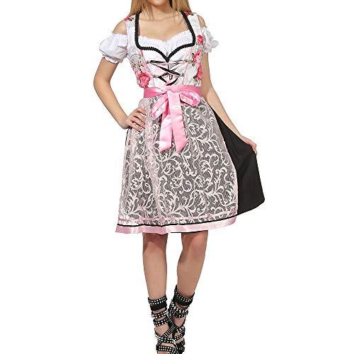 Puimentiua Vestido para Mujer Dirndl Disfraz de Bávara para Oktoberfest Festival de Cerveza Alemana EU 34-46