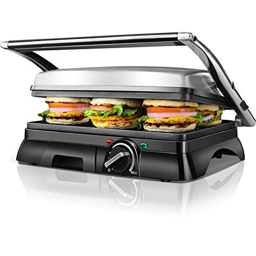 Aigostar Panini Sandwich Press, High Power Sandwich Toastie Maker, Non-Stick Coated Plates for Whole Family, Stainless Steel