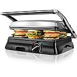 Aigostar Samson 30MAZ – Enchufebritánicode3pines, Grill, parrilla, panini, sandwichera con tapa flotante. 2000W