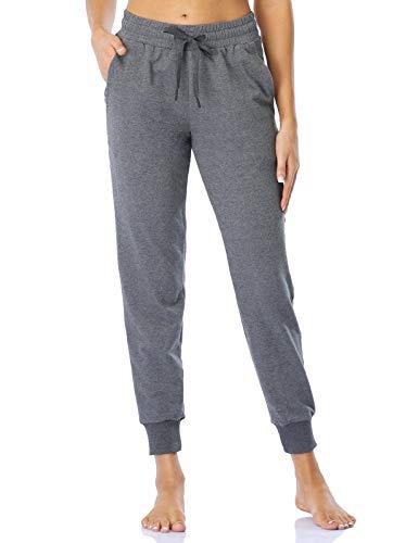 MOVE BEYOND Damen Jogginghose mit 3 Taschen Lounge Pants mit Kordelzug Trainieren Yoga-Hose, Grau, S