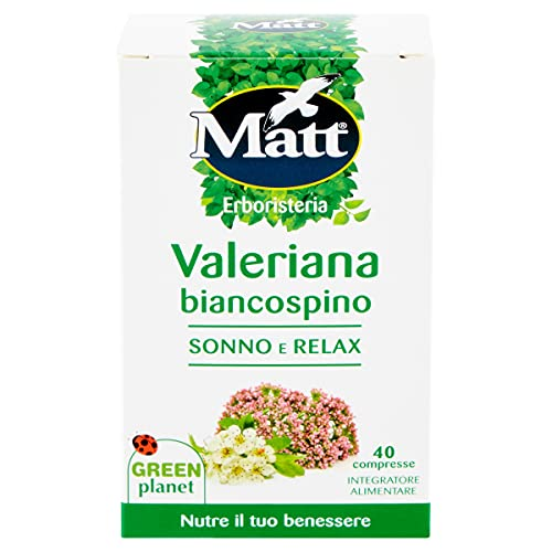 Matt Valeriana Biancospino Integratore per Sonno e Relax, 40 Compresse, 28g