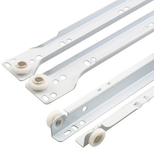 "Prime-Line R 7210 Drawer Slide Kit – Replace Drawer Track Hardware – Self-Closing Design –Fits Most Bottom/ Side-Mounted Drawer Systems –15-3/4"" Steel Tracks, Plastic Wheels, White 1 Pair (2 LH, 2 RH)"