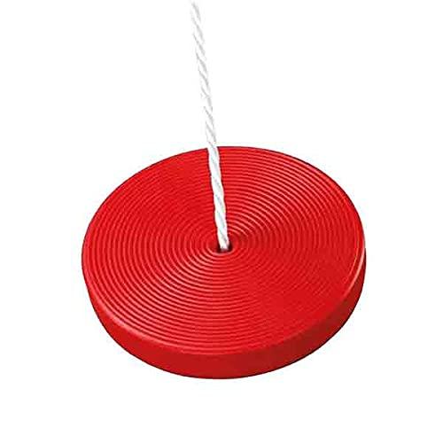 Idena 40196 - Altalena a piatto in plastica rossa per bambini dai 3 anni in su, con corda regolabile e anelli in acciaio, portata fino a 50 kg, per un divertimento senza problemi a dondolo