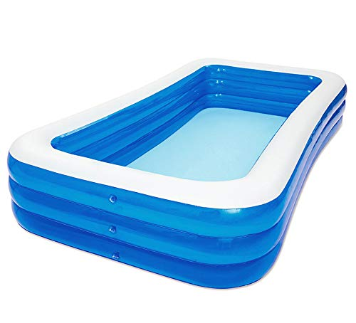 MOOLUNS Blau Rechteck Kind Aufblasbarer Pool,Draussen Groß Verdicken PVC Schwimmbad,Mit Schwimmausrüstung Spree,305 * 180 * 68cm
