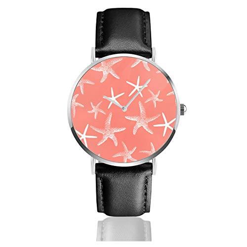 Salmón Rosa Estrella de mar Decorativa Lumbar Clásico Casual Moda Reloj de Cuarzo Acero Inoxidable Correa de Cuero Relojes