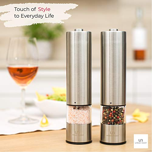 Electric Salt and Pepper Grinder Set – Battery Operated Stainless Steel Mill with Light (Pack of 2 Mills)