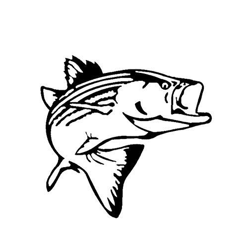 CTMNB Autosticker 15cm x 14.3cm Auto Styling Wit Vinyl Decal Striper Fish Vissen Zout Water Lake Grappige Auto Sticker Zwart/Zilver