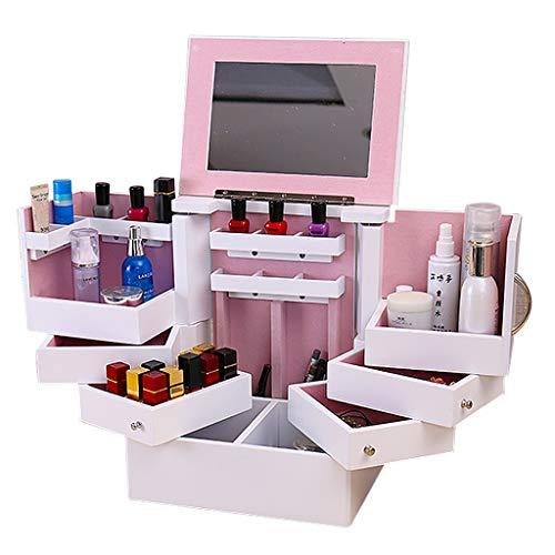 Kosmetische Aufbewahrungsbox, Schmuck-Aufbewahrungsbox Lippenstift-Box Massivholzschrank Geschenk Mit Spiegel Mit Deckelumdrehung (Color : Weiß, Size : 21 * 28 * 35.5cm)