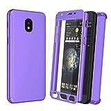 NJJEX Case for Samsung Galaxy J3 2018/J3 Eclipse 2/J3 Orbit/J3 Achieve/Express Prim 3/Amp Prim 3/J3V/J3 Aura/J3 Star W/[Tempered Glass Screen Protector], [N360] Full Body Slim Phone Cover [Purple]