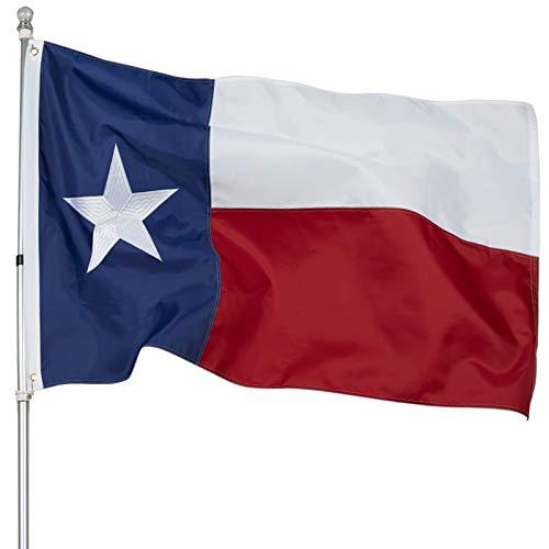 ROTERDON Bundesstaat Texas Flagge, 90 x 150 cm, USA Texas 210D Oxford Nylon, robuste Flagge mit gestickten Sternen, Messingösen.