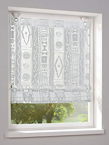 heine home Raffrollo Ausbrenner Bedruckt Ösen weiß H/B 140x120 cm