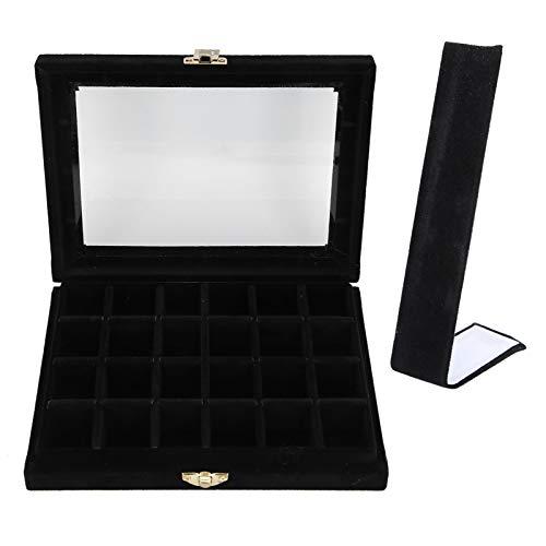 Soporte de exhibición del organizador de la caja de almacenamiento del anillo del pendiente de moda [negro], caja de joyería profesional de 24 rejillas Gabinetes de joyería Almacenamiento de joya