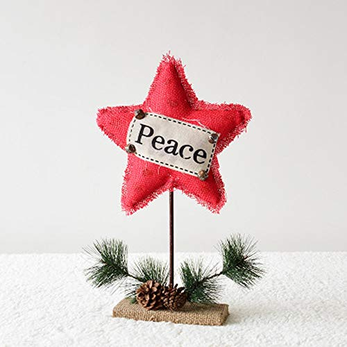 YWYU Aiguilles de pin en Bois cônes en pin Toile de Jute Lettre Rouge étoile à Cinq Branches Cadeau de noël Ornements (Taille : Medium 47CMx28CM)