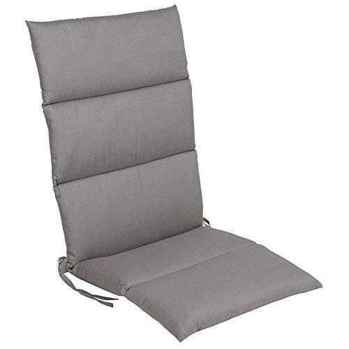 Cojín acolchado para respaldo alto – Cojín de asiento en gris – Cojín para silla de jardín (gris)