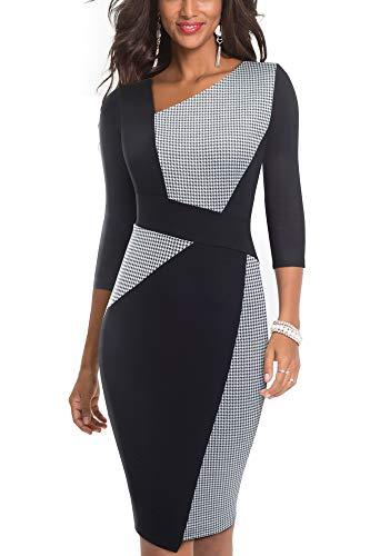HOMEYEE Damen Vintage Ärmelloses Business Kleid aus Stretch mit Kontrastfarbe B517 (EU 38 = Size M, Weißer Hahnentritt-L)