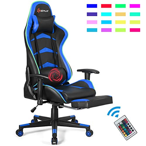 Goplus Massage Gaming Chair with LED Light, Reclining Backrest Handrails and Seat Height Adjustment Racing Computer Office Chair with Footrest, Ergonomic High Back PU Swivel Game Chair blue chair gaming