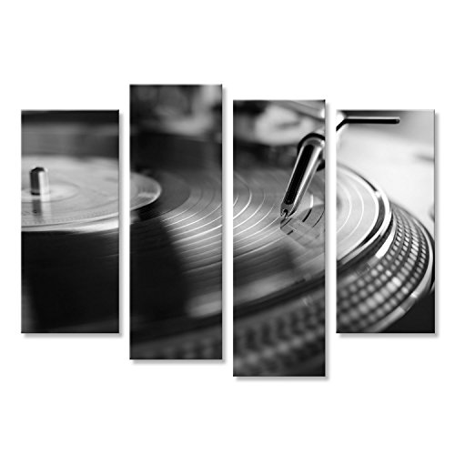 islandburner Cuadro Cuadros Reproductor de Vinilo, tecnología de Sonido analógico para DJ Que Reproduce música Digital, Primer Equipo de Audio para Disc Jockey en Blanco y Negro Impresión sobre