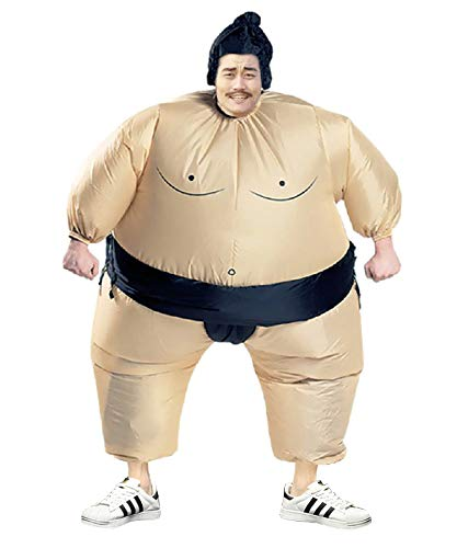 Inflatable Sumo Wrestling Fat Costume Halloween Cosplay Blow Up Fancy Suit, Adult and Children Size