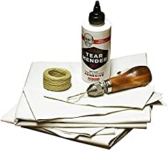 Complete Repair Kit for Canvas Tents, Pop-Up Campers, Tarps, Marine and Boat Covers   with 6oz Tear Mender Glue, Speedy Stitcher Sewing Awl/Needles, Over 6 Sq Ft of Canvas and 30 Yards of Waxed Thread