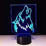 Veilleuse loup 3D avec batterie externe USB LED sans fil 7 couleurs changeantes