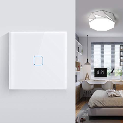 Hochwertiges gehärtetes Glas Funk Touch Lichtschalter, Wasserdichte Kratzfeste Lichtschalter mit 1/2/3 Weg für Innen Außen [Energieklasse A+]