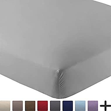 Bare Home Fitted Bottom Sheet Premium 1800 Ultra-Soft Wrinkle Resistant Microfiber, Hypoallergenic, Deep Pocket (Queen, Light Grey)
