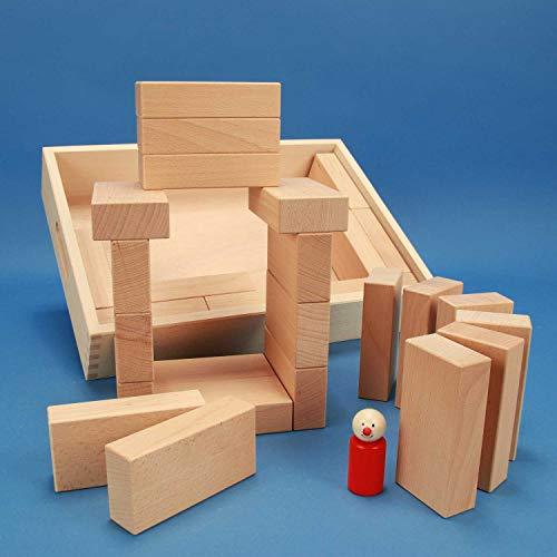 """Fröbel-Bausteine-Set """"Spezial 29"""" in der flachen unbehandelten Griffmulden-Buchen-Kiste aus der Manufaktur Tischlerschuppen - 2"""