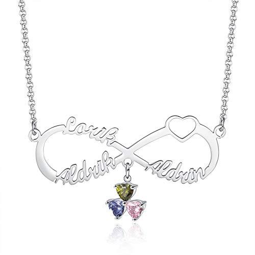Infinito Collar con 1 ~ 5 Nombres Personalizado Collar de Plata 925 para Mujer Infinito Colgante 3 Colores Collar con Piedra Regalo para Esposa Madre Hija BFF (3 Nombres)