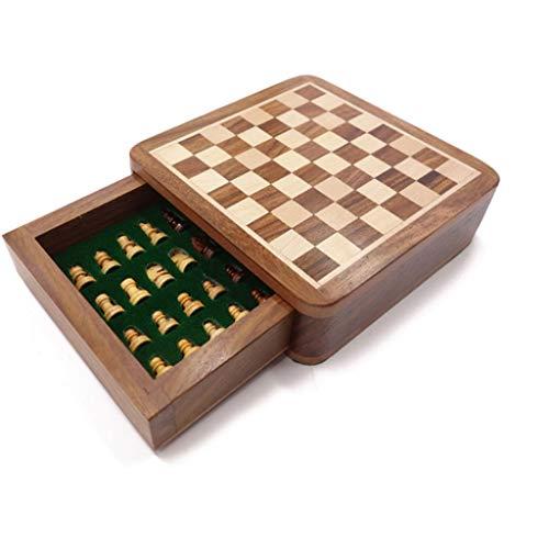 kiter Ajedrez Juego de ajedrez de Madera con Tablero de ajedrez, Tablero de ajedrez Internacional portátil con Almacenamiento, ajedrez para Regalo de Juguetes Juego de Ajedrez