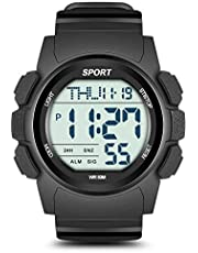Beeasy Mens Digital Sports Watch Waterproof with Stopwatch Countdown Timer Alarm Mode Dual Time Watch for Men