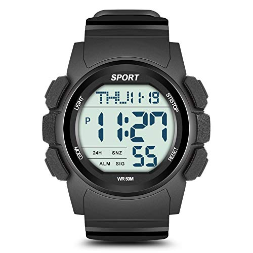 Beeasy Mens Digital Sports Watch Waterproof with Stopwatch Countdown Timer Alarm Mode Dual Time Watch for Men,Black