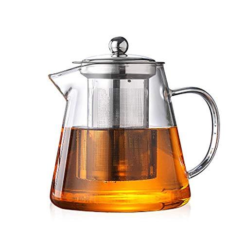 Demarkt theepot van glas met zeef roestvrij staal theebrede kop set