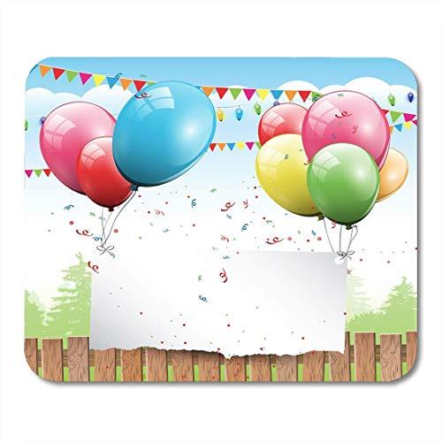 Mauspads lila himmel rosa party bunter geburtstag mit luftballons und platz für text blau happy red fun mauspad für notebooks, Desktop-computer mausmatten