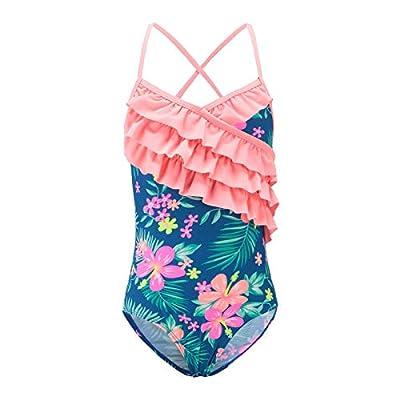 Moon Tree Girls One Piece Swimsuits Hawaiian Ruffle Swimwear Beach Bathing Suit 5T Blue