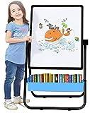 Arkmiido Pizarra Infantil Caballete para niños, Pizarra Magnetica Infantil, Pizarra Blanca y Pizarra con Soporte Ajustable y Giro 360 Grados y Letras y Números Magnéticos de Bonificación (Negro)