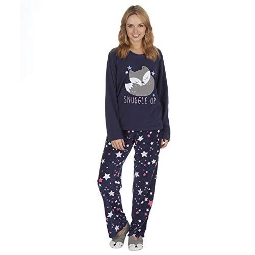 Style It Up - Pijama para mujer con forro polar suave y estampado animal