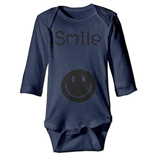 MSGDF Unisex Newborn Bodysuits Smile Boys Babysuit Long Sleeve Jumpsuit Sunsuit Outfit Navy