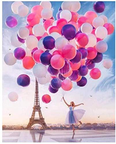 QIAOYUE Mädchen mit bunten Luftballons Malen nach Zahlen Wohnzimmer Schlafzimmer Küche Dekoration vorgedruckte Leinwand Ölgemälde schönes 16 x 20 Zoll (Rahmenlos)