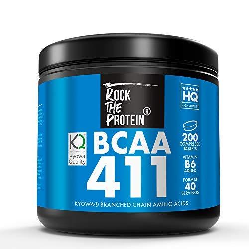 RTP  BCAA 4:1:1 + Vit B6  200 Compresse da 1000 mg  Integratore Alimentare a Base di Aminoacidi Ramificati  Rapporto 411 di L-Leucina, L-Isoleucina e L-Valina  Recupero Muscolare