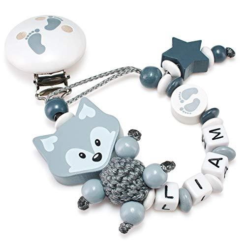Schnullerkette mit Namen für Babys - Mädchen und Jungen - Viele Modelle und Farben (3D Fuchs, Füßchen, Stern, grau)
