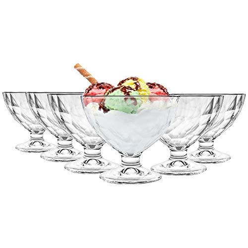 Bormioli Rocco diamant Dimpled clair Stemmed sundae Dessert Bowls - 360ml - Lot de 6
