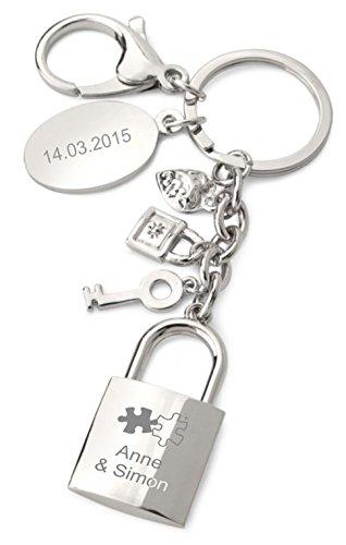 Schlüsselanhänger Liebesschloss Vorhängeschloss mit Gravur 7249