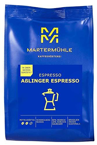 Martermühle   Aßlinger Espresso (1kg)   Ganze Bohnen   Premium Espressobohnen aus Brasilien, Guatemala, Indien   Schonend geröstet   Espresso säurearm   80% Arabica 20% Robusta